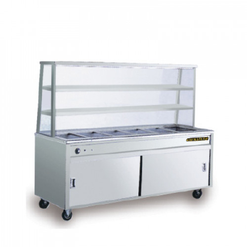 STAINLESS STEEL BAIN MARIE WITH TIER OVERSHELF