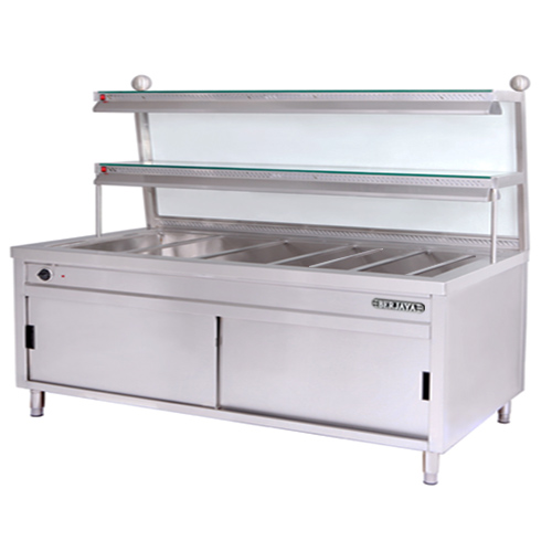 STAINLESS STEEL BAIN MARIE WITH CLEAR GLASS OVERSHELF